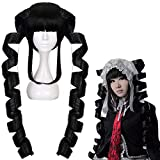 JoneTing Black Cosplay Costume Women Wig with Drills Synthetic Long curly Wigs Hair for Anime