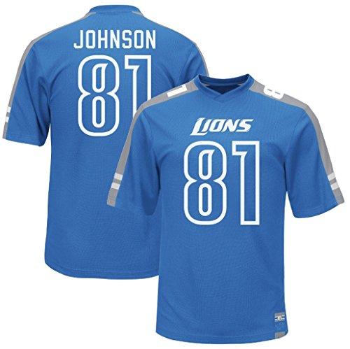 VF Detroit Lions Calvin Johnson #81 Majestic Mens Hashmark Jersey Blue Big & Tall Sizes