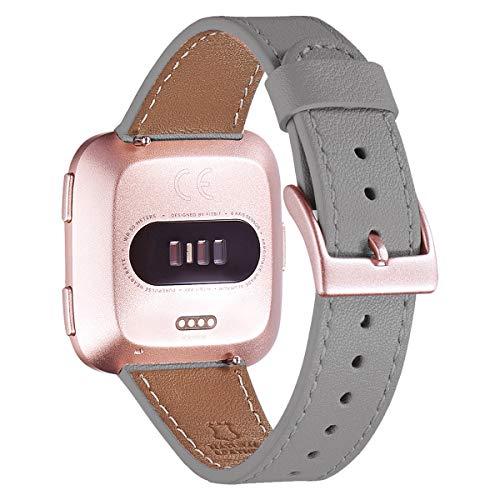 WFEAGL für Fitbit Versa Armband,Top Grain Lederband Ersatzband mit Edelstahl-Verschluss für Fitbit Versa/Versa 2 /Versa Lite/Versa SE Fitness Smart Watch(Grau+ Roségold Schnalle)