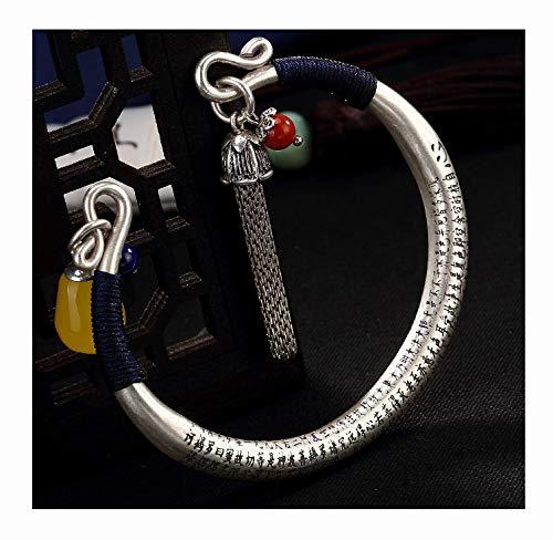 FAYFMA Pulsera de plata de ley con forma de corazón, pulsera ajustable retro con apertura de borla, pulsera de regalo de joyería de plata