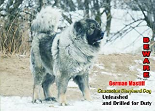 Indigos UG Attention - Beware/Fun Sign Dog Caucasian Shepherd Dog for Your Home or House SF1221
