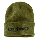 Carhartt Men's Knit Insulated Logo Graphic Cuffed Beanie, Military Olive, OFA