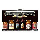 Coffret trésors de Wallonie 6 savoureuses bières du terroir : la triple Val-Dieu, la Super des Fagnes brune, St-Feuillien blonde, La queue de Charrue Rouge, la Bush Ambrée, la Chimay brune
