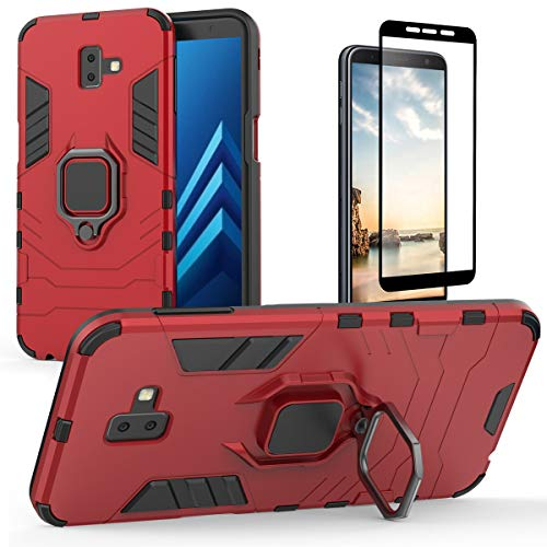 Samsung Galaxy J6 Plus Funda y Protector de Pantalla - J6+ Funda a prueba de golpes con soporte de anillo