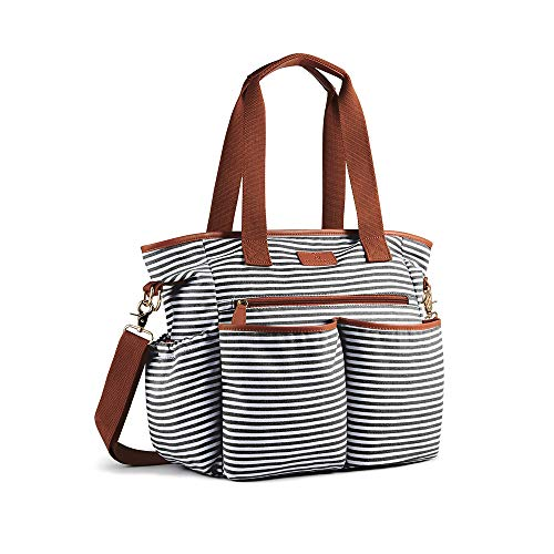 Plambag Striped Diaper Tote Weekender Bag, Baby Nappy Shoulder Bag w/Changing Pad (Black & White)