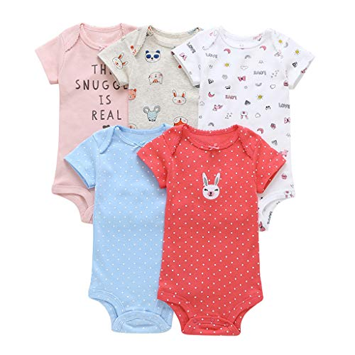 Bebé Niñas Manga Corta Body Paquete de 5 Mono Algodón mameluco Pijama Conjuntos 6-9 Meses