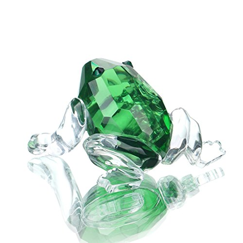 H&D HYALINE & DORA Small Crystal Frog Figurine Collection Glass Animal Paperweight Table Centerpiece Ornament(Green)