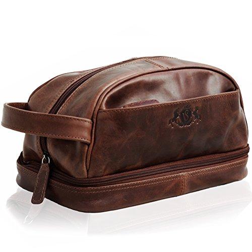 SID & VAIN wash Bag Alex Large Travel Overnight Wash Gym Shaving Bag for Men's Or Ladies Real Leather Toiletry Bag Leather Bag Men Brown