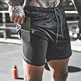 Pantalones Cortos Deportivos ReciénLlegado De Verano De DosPisos para HombreFitness Culturismo Transpirable De Secado Rápido CortoHombres Casual Joggers Shorts XXXL Blac
