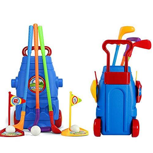 TOYLT Draußen Golfschläger Set, Golf Set für Kinder 3 Arten von Schlägern, 2 Löchern, 3 Bällen Mini Golf Outdoor Sport Spielzeug, Kinder über 3 Jahre