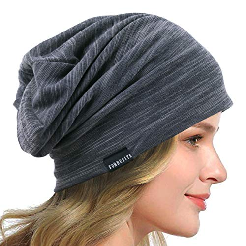 HISSHE Sombrero de verano para mujer, fino, suave forrado, gorro para dormir, ligero, chemo, S gris, Talla única