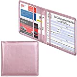 Wisdompro Car Registration and Insurance Documents Holder - Premium PU Leather Vehicle Glove Box Paperwork Wallet Case Organizer for ID, Driver's License, Key Contact Information Cards - Rose Gold
