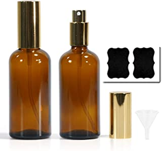 Empty Glass Spray Bottles Set Refillable Container for Essential Oils Perfume Cleaning Products 100ml/3.4oz Bottles with Funnel Lables Fine Mist Spray 2Pack (Amber)