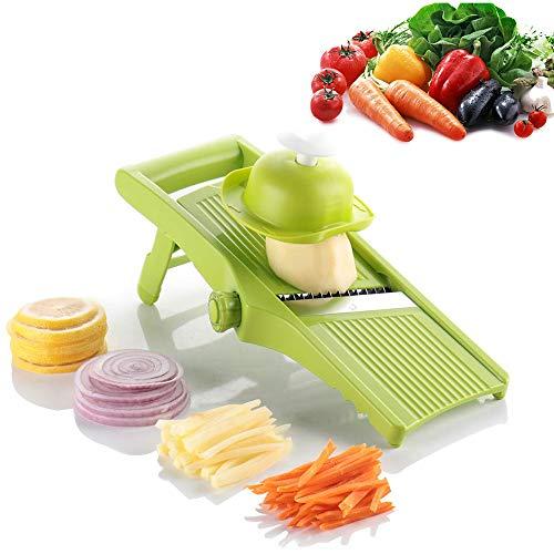 NOBGP Mandoline Slicer Adjustable Gemüsekalschneider mit Ultra Sharp Built-in 5 austauschbaren Edelstahlklemmen Safe Hand Protektor für Küchenkochen