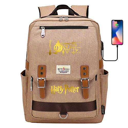 DDDWWW Laptop Backpack Casual Rucksack Youth Retro Backpack Outdoor Sports Travel Bag Harrypotter Khaki