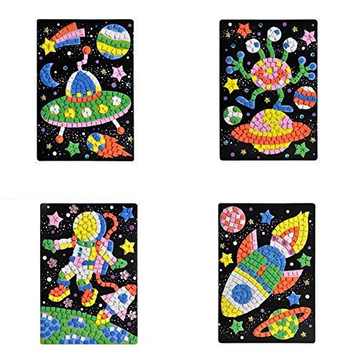 Autocollant Mosaïque Kits d'illustration de la Véhicule ou Animaux en Mosaïque Sticky Mosaiques Autocollantes Loisirs Créatifs pour Enfant ( OVNI, Extraterrestre, Astronaute, Vaisseau Spatial ) X 1