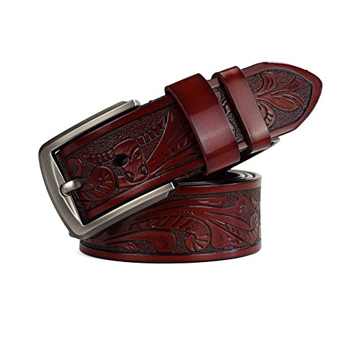 TWFY Cinturón de Hombre de Cuero Clásico Negocio de la Correa Ocasional Pin Hebilla del cinturón de los Hombres adecuados for Todas Las Estaciones Cinturón de Vestir Casual (Color : Red)