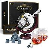 Baban Whisky Decanter Set, Decanter per Vino, Design del Globo, con 2 Vino Tazze, 9 Pietra di Vino Ghiaccio, Filtro, Carta Regalo - Regali da papà