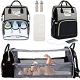 3 in 1 Diaper Bag Backpack with Changing Station, Travel Bassinet Foldable Baby Bed, Baby Bag Portable Crib, Mummy Bag, Large Capacity, Waterproof, USB Charging Port, Dark Grey(Dark Grey)