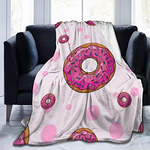 Manta de Felpa, Rosa de Dibujos Animados, rosquillas, Hombres, Manta Unisex, Manta de Felpa, Manta de Felpa, Peluda para Hombres y Mujeres