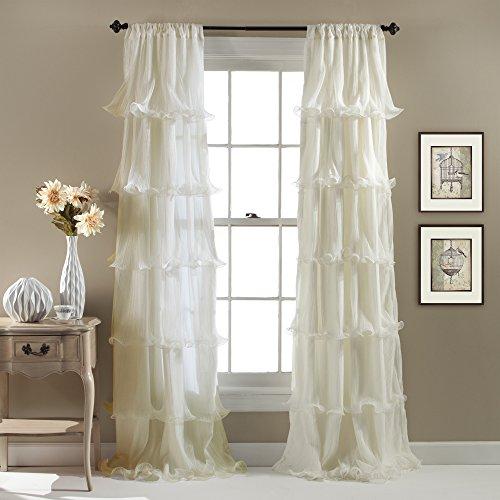 Lush Decor Nerina Vorhang für Wohnzimmer, Esszimmer, Schlafzimmer (Einzelbett), 213,4 x 137,2 cm, elfenbeinfarben