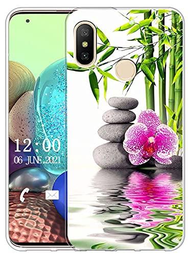 Sunrive Funda Compatible con Xiaomi Mi A2 Lite, Silicona Slim Fit Gel Transparente Carcasa Case Bumper de Impactos y Anti-Arañazos Espalda Cover(X Flor)