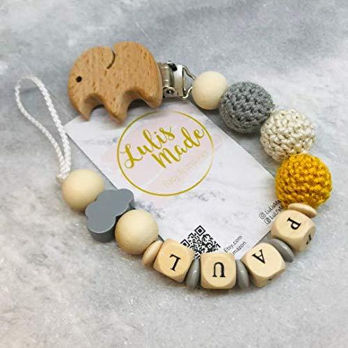 Schnullerkette mit Namen für Junge und Mädchen - personalisierte Baby Geschenke zur Geburt oder Taufe (Grau_4)