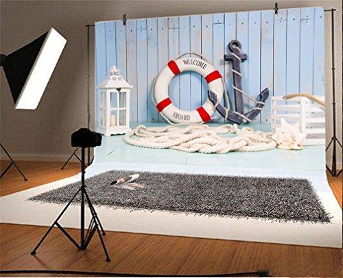 YongFoto 5x3ft fondo la fotografía de la decoración en el estilo de viaje Ancla para Lifebuoy linterna Photond Telones Fotografía Photohoot