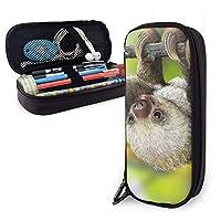 ペンケース かわいい赤ちゃんナマケモノ動物 大容量 筆箱 シンプル 機能的 男の子 女の子 文房具 ダブルジッパー