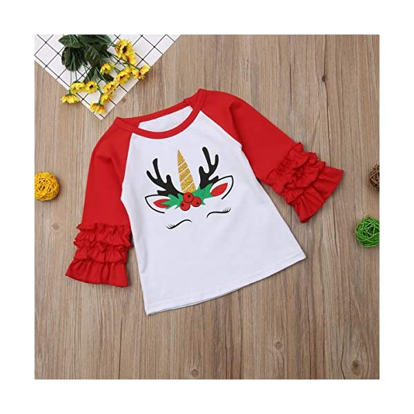 Xmas Baby Girls Unicorn Shirt Long Sleeves Christmas Print Color Block Top Blouse Tunic Outfit for 1-5Years 7