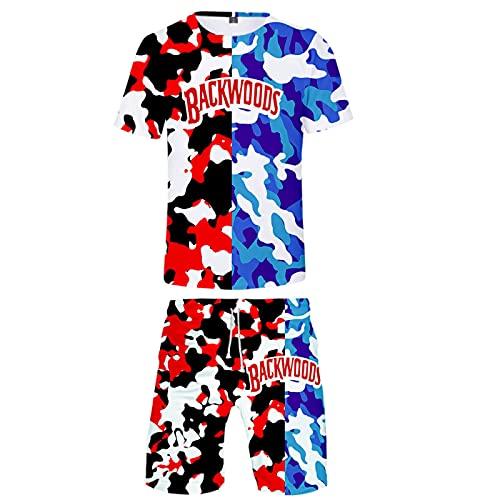 Conjunto De 2 Piezas De Manga Corta con Estampado 3D para Hombre, Camiseta Deportiva De Verano, Pantalones Cortos, Ropa Novedosa Informal, PatróN Impreso En 3D M