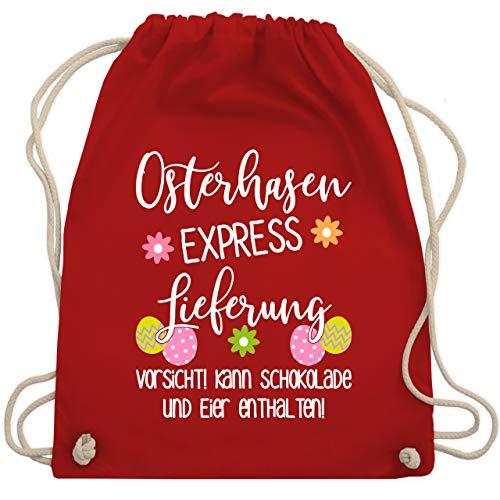Shirtracer Turnbeutel - Osterhasen Express Lieferung - Unisize - Rot - Geschenk - WM110 - Turnbeutel und Stoffbeutel aus Baumwolle