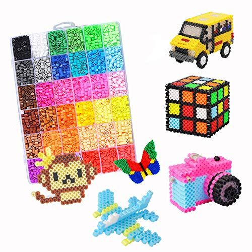 Ucradle Fuse Beads Kit, 5500+ Pcs Fuse Beads 24 Assorted Color Including 5 Square Peg Board, 2 Tweezers, Ironing Papers, Christmas, Halloween Melt Beads Gift For Kids Girls