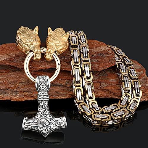 Serired Collar con Colgante Martillo Vikingo Thor, Collar Cadena Nordic Odin Celtic Wolf King, Joyería Regalo Amuleto Pesado Acero Inoxidable Vintage para Hombre,Plata,60cm