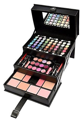 Vanidad del Caso Cosmético Maquillaje Caja Belleza Negro Profesional Grande Almacenamiento 82 Pcs