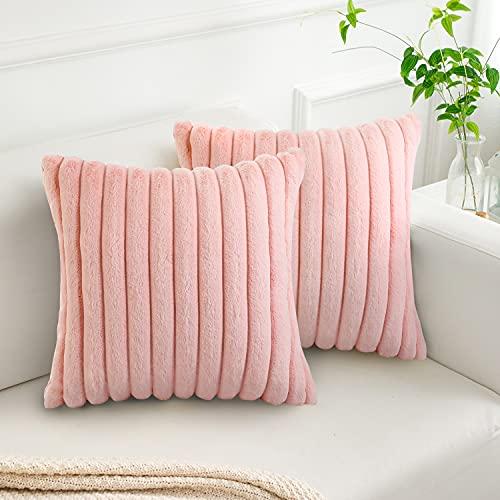 DakTou Juegos de 2 Funda de Cojín Lana Suave Fundas de Almohada Cuadrada para Cojines Moderno Decorativos para Exterior Sofá Cama Coche Hogar 45x45cm,Rosa