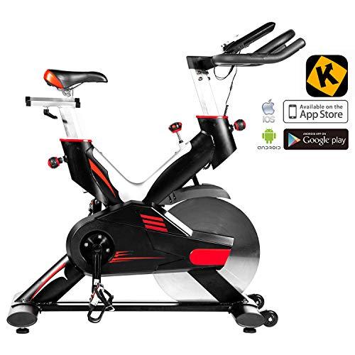 AsVIVA Indoorcycle Speedbike S15 Bluetooth schwarz, Fitnessbike inkl. SPD Klicksystem, 27kg Schwungmasse, Pulsempfänger inkl. Brustgurt, leiser Riemenantrieb, Indoor Cycle