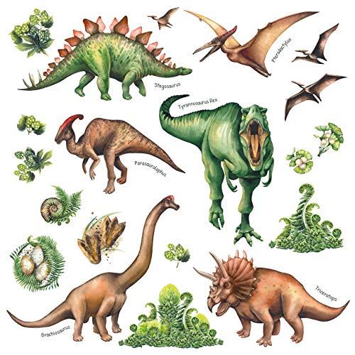 DECOWALL DS-8034 Aquarell Dinosaurier Kids Wandtattoo Wandsticker Wandaufkleber Wanddeko für Wohnzimmer Schlafzimmer Kinderzimmer (Klein) (Englisch Ver.)