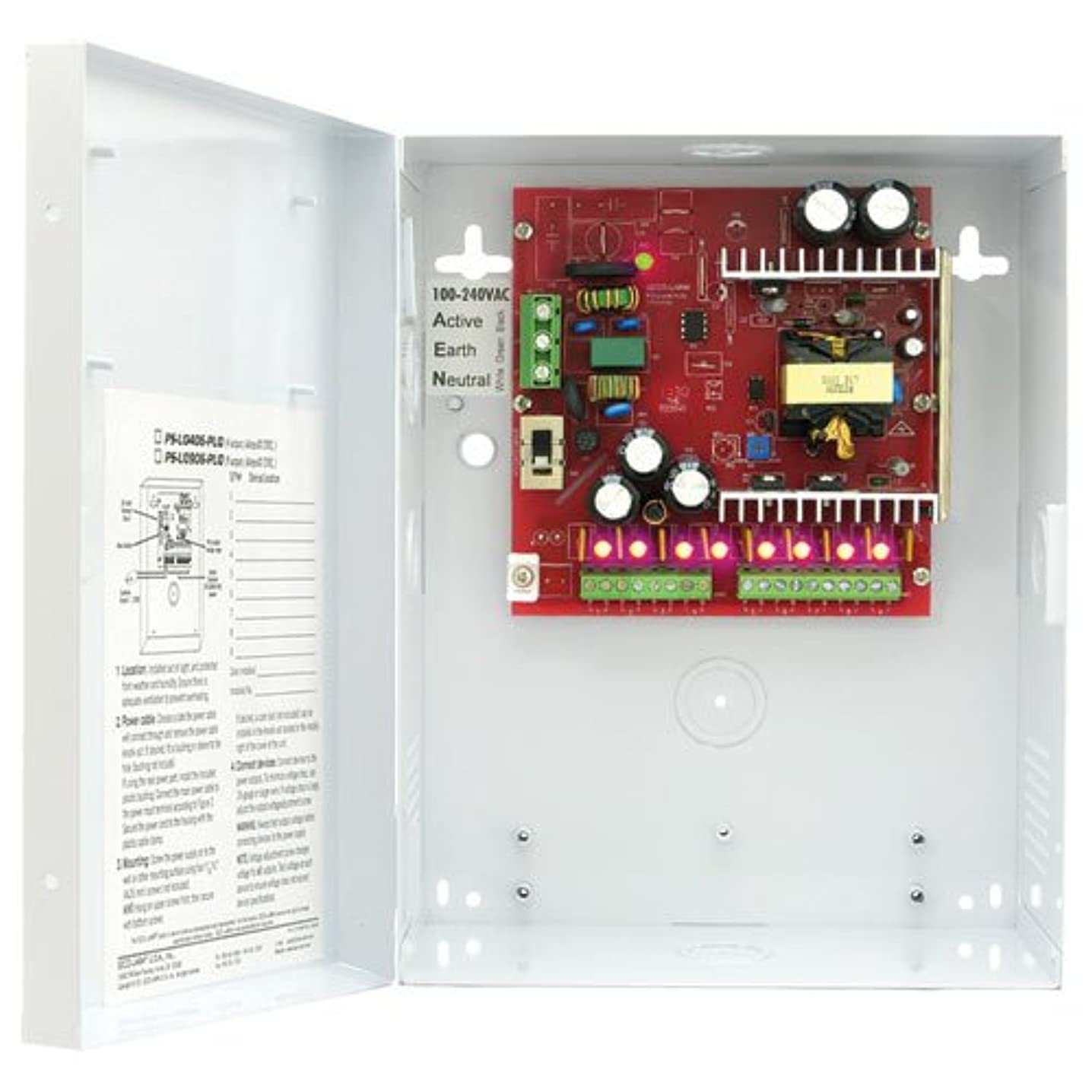 Seco-Larm PS-U0906-PULQ 12VDC Switching CCTV Power Supply; Universal 100~240 VAC Input; New Lightweight, Cost-effective Design; Each Output Individually Fused (PTC-type Fuses) shlolfeek