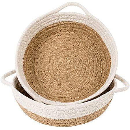 """Goodpick 2pack Cotton Rope Basket - Woven Storage Basket - 9.8"""" x 8.7"""" x 2.8"""" Small Rope Baskets for Kids Home Decor Toy Basket Organizer - Desk Basket Containers for Jewellery, Keys - Hemp Rope Bowl"""