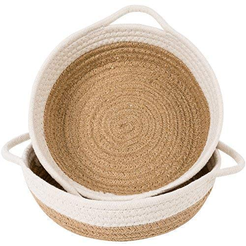 Goodpick 2pack Cotton Rope Basket - Woven Storage Basket - 9.8' x 8.7' x 2.8' Small Rope Baskets for Kids Home Decor Toy Basket Organizer - Desk Basket Containers for Jewellery, Keys - Hemp Rope Bowl