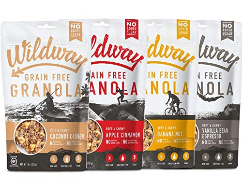 Wildway Vegan Granola | Variety | Certified Gluten Free Granola Breakfast Cereal, Low Carb Snack | Grain-Free, Paleo, Non-GMO, No Artificial Sweetener | 8oz - 4 pack