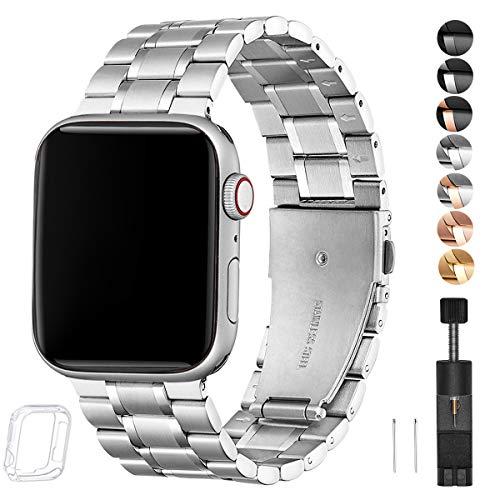 HEKAI Armband Kompatibel mit Apple Watch Armband 42mm 38mm 40mm 44mm Metall, Verstellbare Edelstahl Ersatzbänder für die iWatch Serie 5/4/3/2/1 (42mm 44mm, Silber)