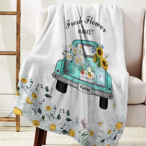 Manta Para Mercado de flores frescas Retro Camión Margaritas Girasol Blanket 125 X 100CM
