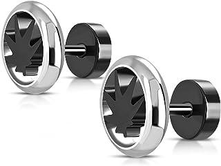 BlackAmazement Lot de 2 Boucles doreilles en Acier Inoxydable 316L Motif Croix de Fer et Cercle de Cercle 6 mm Noir et Blanc pour Homme