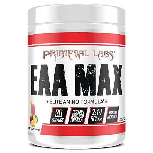 Primeval Labs EAA Max, Essential Amino Acids Supplement Powder, BCAAs, EAAs, Electrolytes, Enhance Performance, Support Hydration, Improve Muscle Recovery, Keto Friendly, Tropical Lemonade 30 Servings