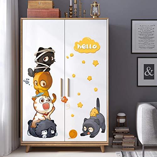 TAOYUE Dibujos animados lindo gato combinación etiqueta de la pared puertas de nevera ventanas Mural habitaciones de niños armario decoraciones papel pintado calcomanías pegatinas