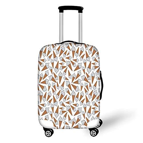 Reizen Bagage Cover Koffer Beschermer, Zoete Decor, Afhalen Vanille Ijs Gelato Achtergrond Yummy woestijn Scoop Beeld, Parel Licht Karamel, voor Reizen
