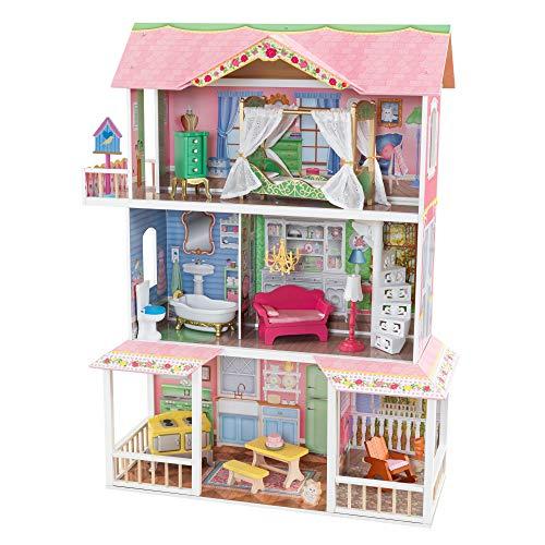 KidKraft 65851 Sweet Savannah Puppenhaus aus Holz mit Möbeln und Zubehör, Spielset mit drei Spielebenen für 30 cm große Puppen