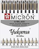 Sakura Pigma Yukama® Art Edition - Rotuladores de punta fina (10 unidades, n.º 003-12), color negro